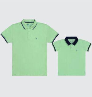 Polo Pai e Filho Verde
