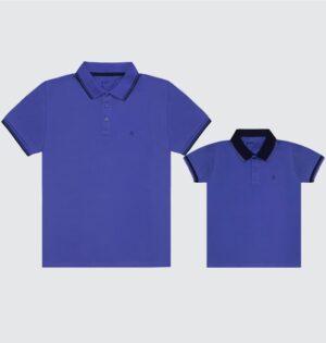 Polo Pai e Filho Azul